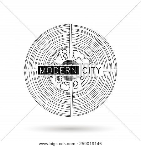 Architectural Ink Background, Construction Logo With Doodle Maps. Design Element For A Building, Arc