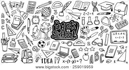 Back To School With Hand Drawn School Supplies - Big Set. Doodle Lettering And School Object Collect