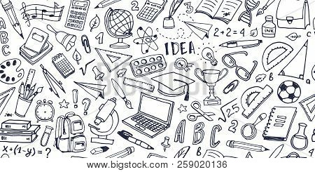 Back To School Doodle Seamless Pattern. Hand Drawn Background With School Supplies And Creative Elem
