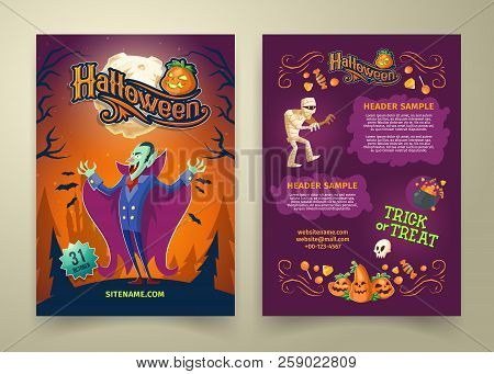 Vector Halloween Invitation On List. Brochure Template With Headers. Background With Count Dracula,