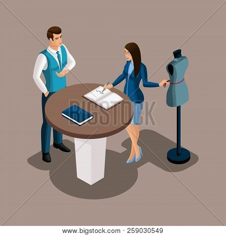 Isometric Bank Manager Proposes To Use The Services Of The Bank, The Tailor Girl Is Considering The