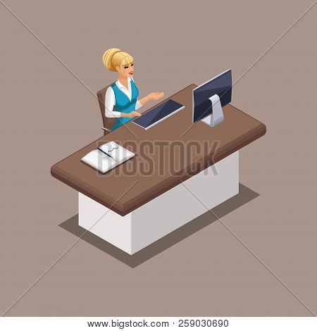 Isometric Bank Employee, A Bank Manager At Work In A Bank Office. Banking Structure In Operation.