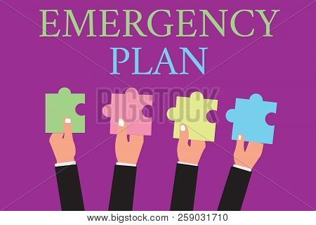 Handwriting Text Writing Emergency Plan. Concept Meaning Procedures For Response To Major Emergencie