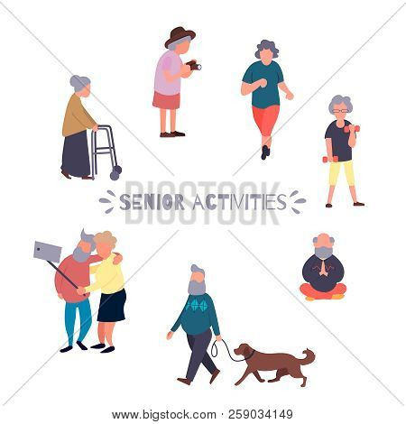 Recreation And Leisure Senior Activities Concept. Group Of Active Old People. Elder People Vector Ba