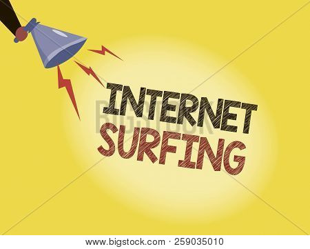 Writing Note Showing Internet Surfing. Business Photo Showcasing Browsing Hundred Of Websites Using