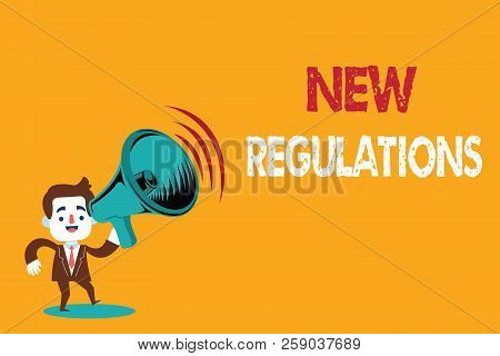 Text Sign Showing New Regulations. Conceptual Photo Regulation Controlling The Activity Usually Used
