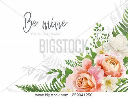 Vector Wedding Invite, Invitation, Greeting Card Design. Floral, Watercolor Style Bouquet With Garde