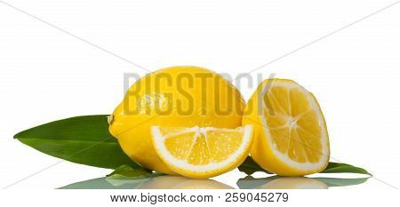 Juicy Cut Lemon With Leaf Isolated On White