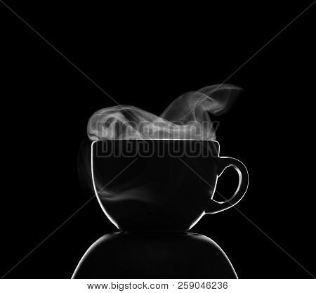 Coffee Cup With Steam Isolated On Black