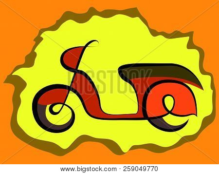 Retro Scooter Sign Mototrcycle Scetch Vector Illustration