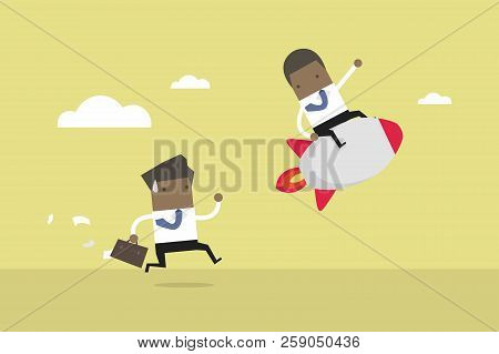African Businessman Ride The Rocket, Business Competition Concept. Competitive Advantage. Vector