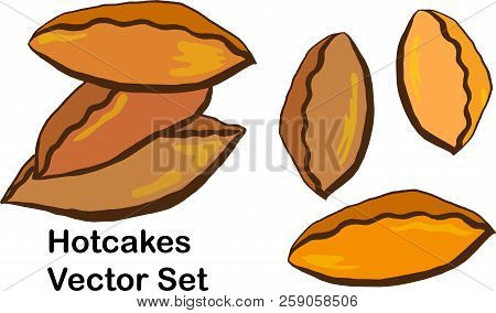 Hotcakes Vector Set - Cartoon Illustration Of Pies, Traditional Pastry