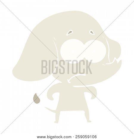 flat color style cartoon unsure elephant