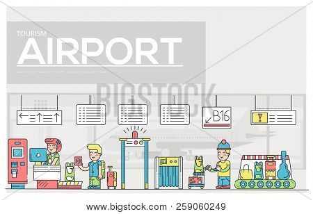Thin Line Staff Working And Registering People And Luggage In The Airport Design.  Registration Outl