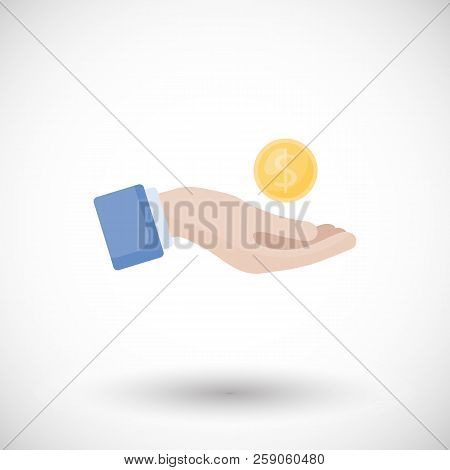 Donation And Charity Flat Vector Icon, Flat Design Of Hand Giving A Coin - Loan, Generosity, Help Or