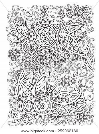 Adult Coloring Page With Oriental Floral Pattern. Black And White Doodle Flowers. Bouquet Line Art V
