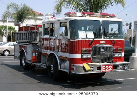 a fire truck in a parking lot