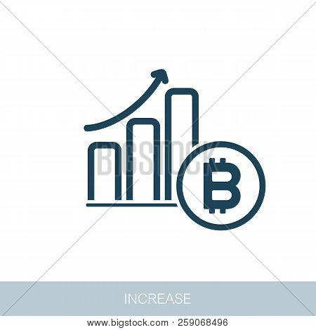 Savings, Increasing Columns Of Gold Coins. Bitcoin Growth Concept. Vector Design Of Blockchain Techn