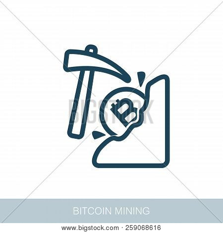 Mining Bitcoin Icon. Vector Design Of Blockchain Technology, Bitcoin, Altcoins, Cryptocurrency Minin