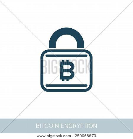Bitcoin Encryption Icon. Vector Design Of Blockchain Technology, Bitcoin, Altcoins, Cryptocurrency M