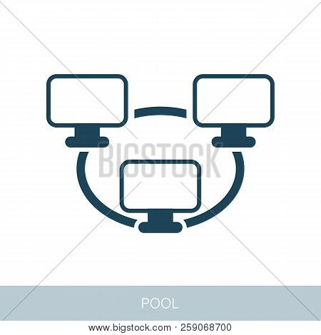 Bitcoin Mining Pool Icon With Peer-to-peer Computer Network. Vector Design Of Blockchain Technology,