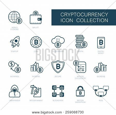Cryptocurrency And Blockchain Icons. Vector Design Of Blockchain Technology, Bitcoin, Altcoins, Cryp