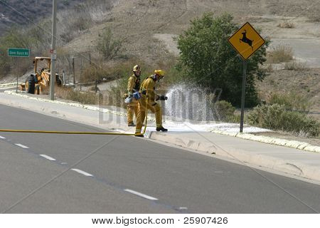 Firemen in action series Firemen in Portola Hills California, keeping the fires from starting here
