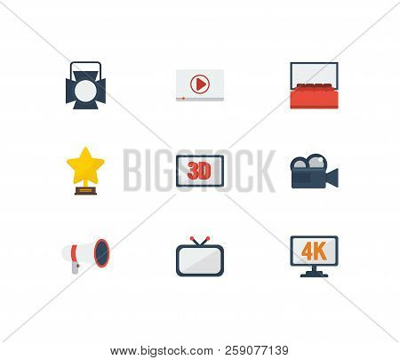 Video Icons Set. Play Video And Video Icons With Television, Award And 4k Cinema. Set Of Professiona