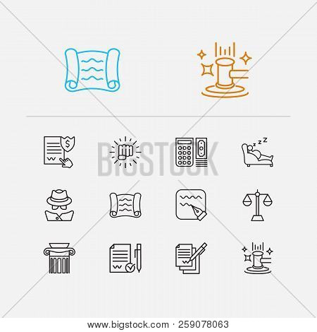 Legal Icons Set. Auction And Legal Icons With Scroll, Legal And Write. Set Of Achievement For Web Ap