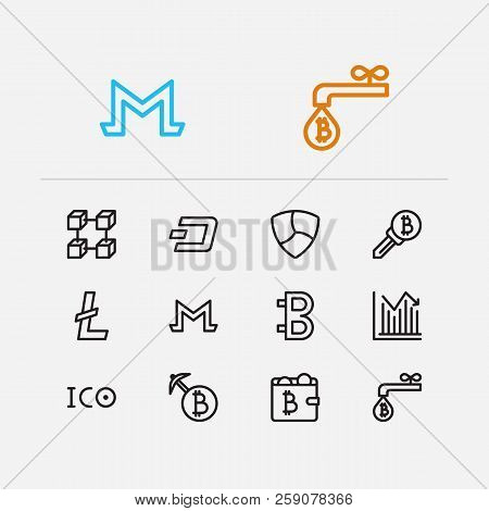 Blockchain Icons Set. Coin Faucet And Blockchain Icons With Stock Price, Bitcoin And Wallet. Set Of