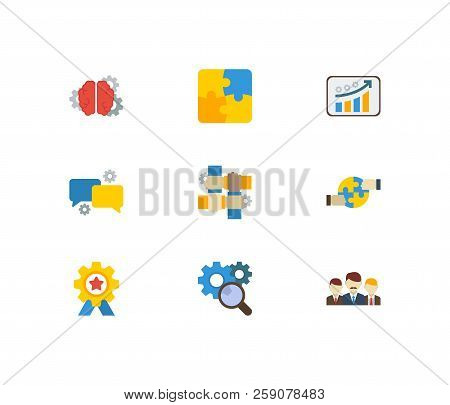 Technology Partnership Icons Set. Growth And Technology Partnership Icons With Teamwork, Cooperation