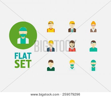Occupation Icons Set. Safety Worker And Occupation Icons With Manager, Teacher And Engineer. Set Of