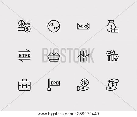 Trading Icons Set. Stock Sector And Trading Icons With Invest Money, Portfolio And Bid-ask Spread. S