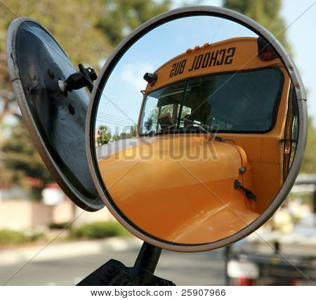 a school bus as seen from its convex mirror poster