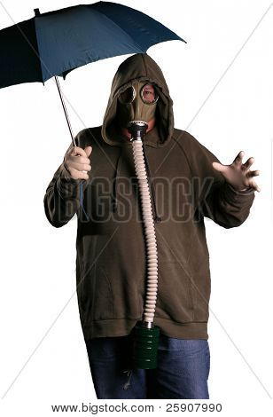 an isolated man in a gas mask opens a blue umbrella