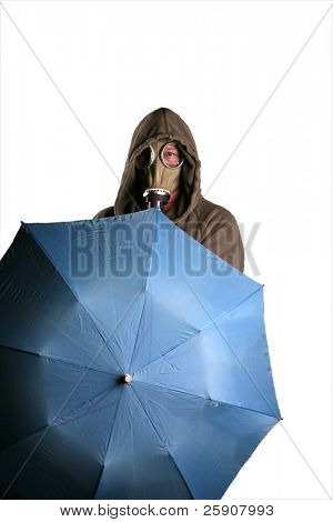 an isolated man in a gas mask opens a blue umbrella poster
