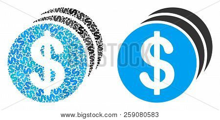 Dollar Coins Composition Of Dollar Symbols And Small Round Pixels. Vector Dollar Currency Symbols Ar