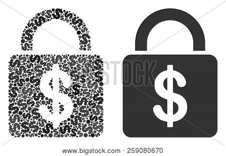 Dollar Lock Composition Of Dollar Symbols And Small Round Circles. Vector Dollar Symbols Are United