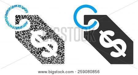 Dollar Tag Collage Of Dollar Symbols And Small Round Circles. Vector Dollar Currency Symbols Are Com
