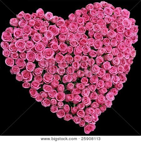 valentines heart made from pink roses on a black background