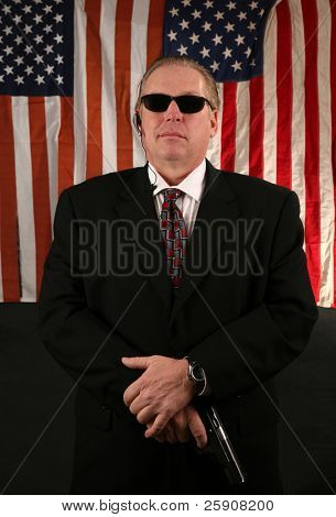 a Secret Service Agent stands at the ready