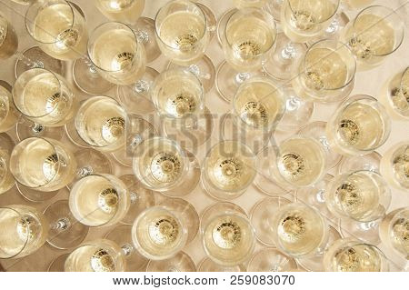 Glasses With Champagne Top View At A Buffet Table