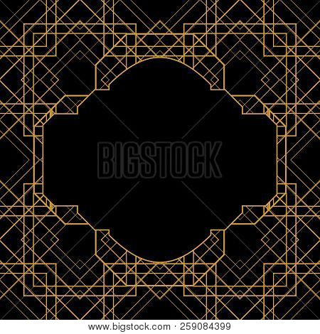 Tile Vector Pattern With Golden Ornament Frame On Black Background