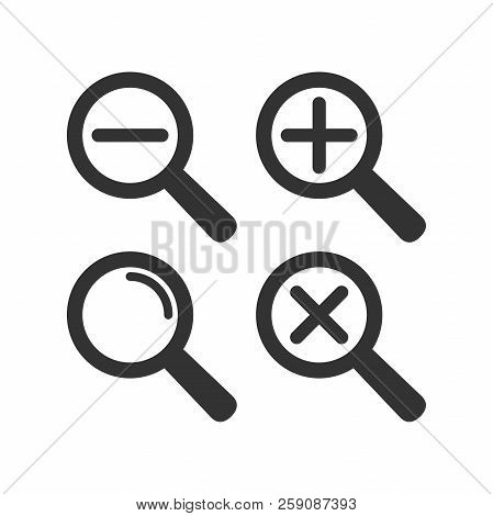 Web Loupe Flat Icon Set. Magnifying Glass With Plus And Minus Sign. Magnify Icon.