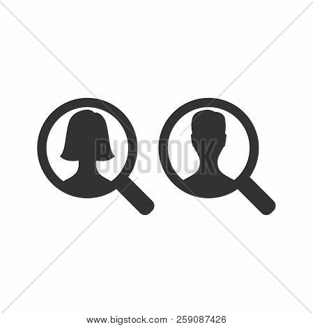Magnifying Glass With Woman And Man Silhouette. Loupe And Magnifier Search Employee Icon.