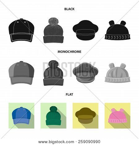Vector Illustration Of Headgear And Cap Icon. Collection Of Headgear And Accessory Stock Vector Illu