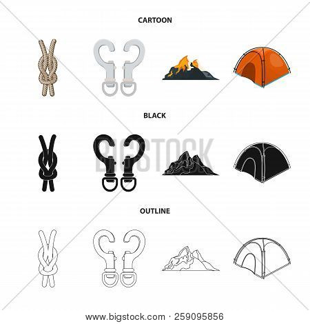 Isolated Object Of Mountaineering And Peak Icon. Set Of Mountaineering And Camp Vector Icon For Stoc