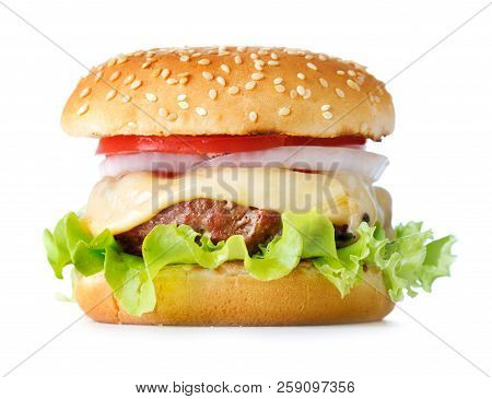 Fresh Cheeseburger Isolated On The White Background