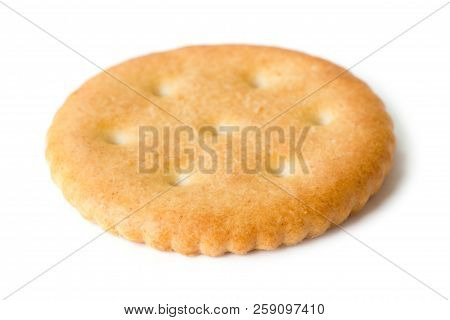 One Cracker Isolated On The White Background