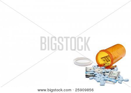Money and pills pour out of a pill bottle representing the high cost of health care and medication concepts isolated on white